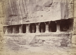 General view from the right of the entrance to Hindu rock-cut temple, Cave III, Badami